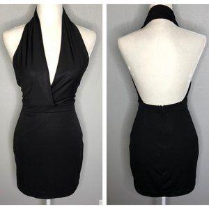 Bebe Bodycon Stretch Deep V-Neck Halter Mini Dress